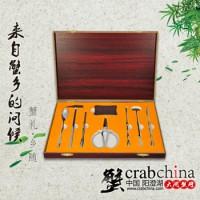 不锈钢蟹八件 吃阳澄湖大闸蟹工具 木盒礼品装