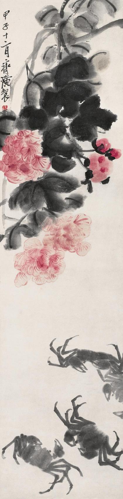 62岁那年,白石老人画了《芙蓉四蟹图》,这件作品画得规规矩矩,芙蓉花