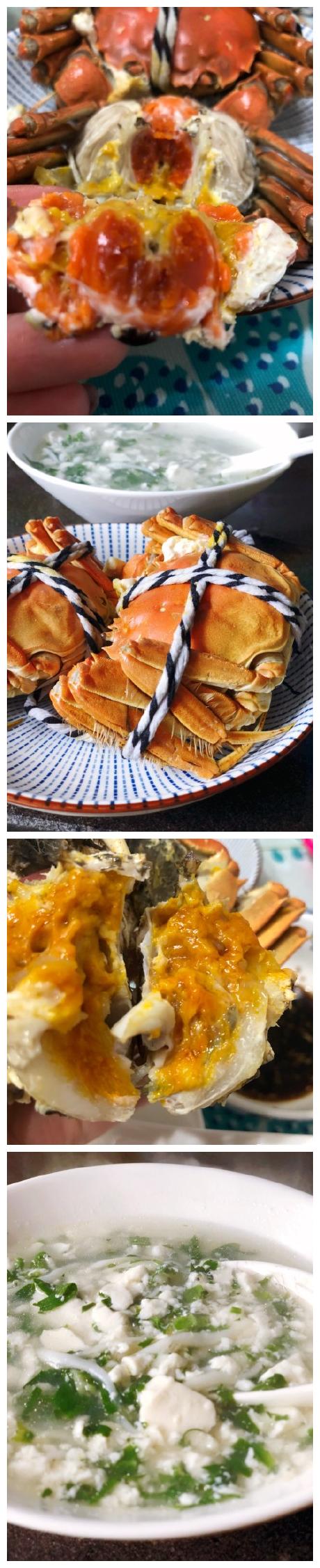 荠菜银鱼豆腐羹,阳澄湖大闸蟹,蟹黄漫溢。
